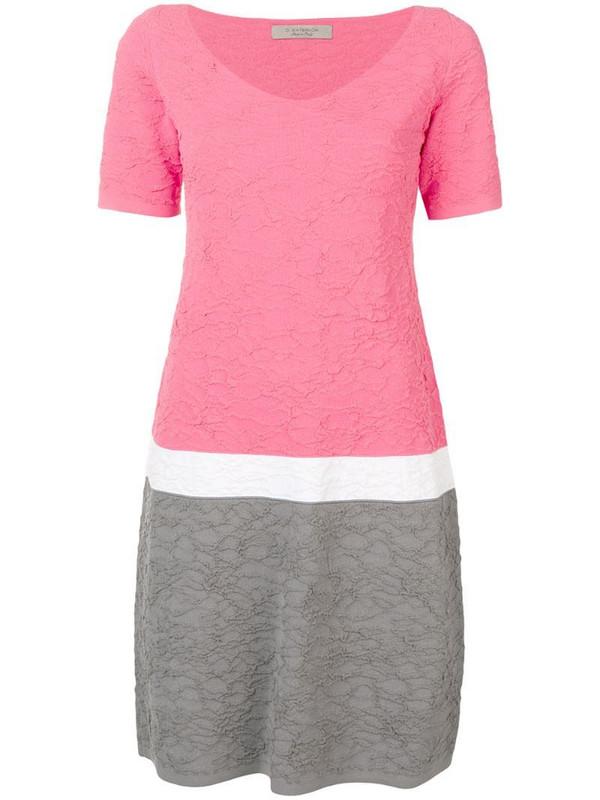 D.Exterior textured shift dress in pink