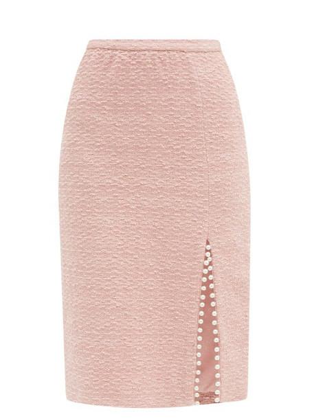 Giambattista Valli - Faux Pearl-trimmed Cotton-blend Tweed Midi Skirt - Womens - Light Pink