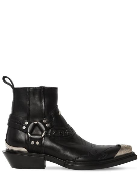 BALENCIAGA 40mm Santiago Logo Leather Boots in black