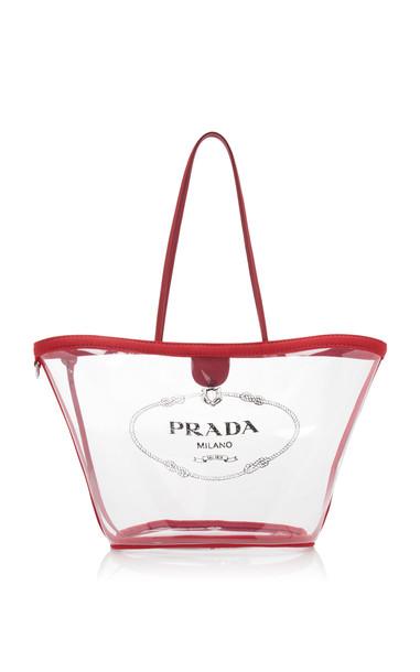 Prada Transparent PVC Logo Tote Bag in orange