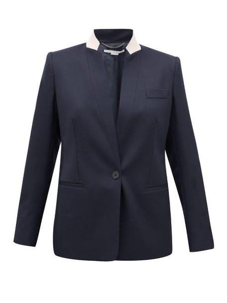 Stella Mccartney - Notched-lapel Single-breasted Wool Jacket - Womens - Navy