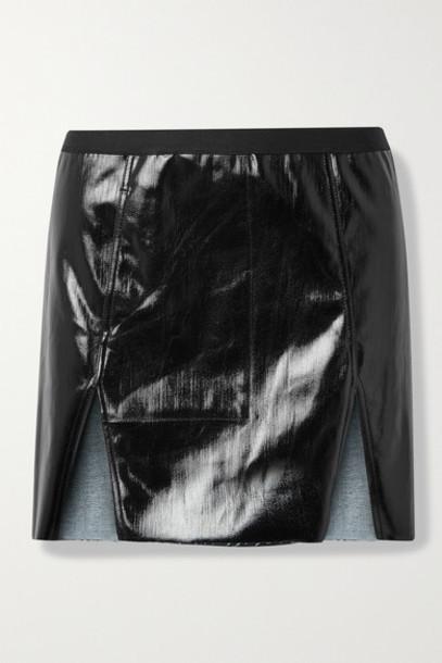 Rick Owens - Frayed Coated Cotton-blend Mini Skirt - Black