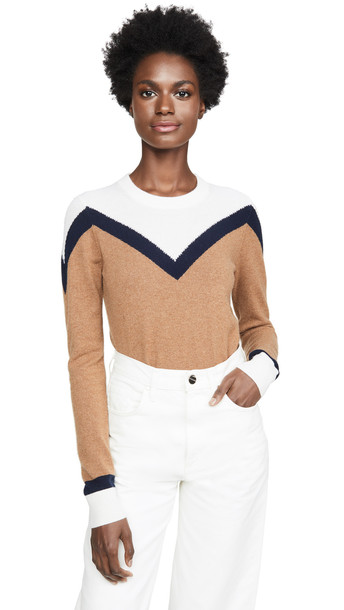 Veronica Beard Bradford Cashmere Pullover in navy / multi