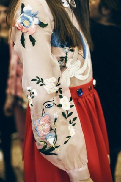 blouse floral floral blouse spring embellished embroidered evil eye