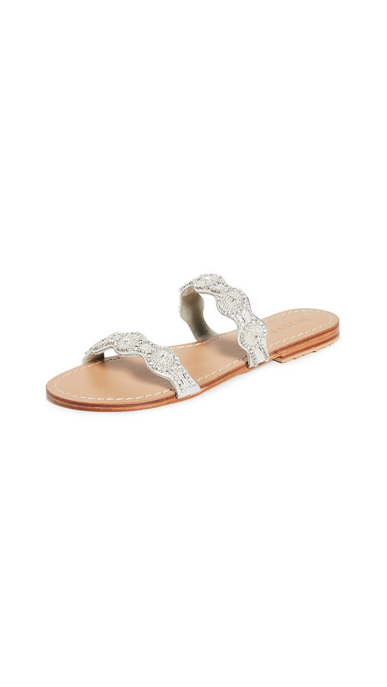 Mystique Double Strap Crystal Embroidered Slides in silver / clear