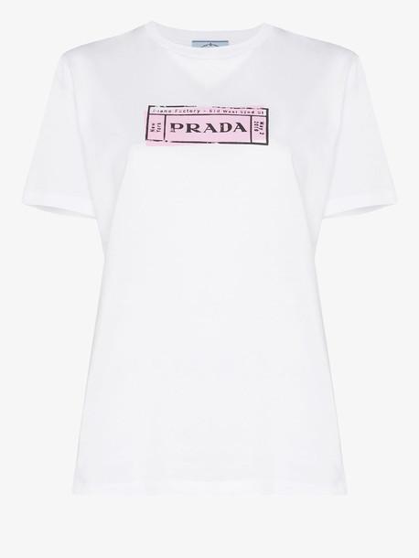 Prada Ticket stamp logo T-shirt in white