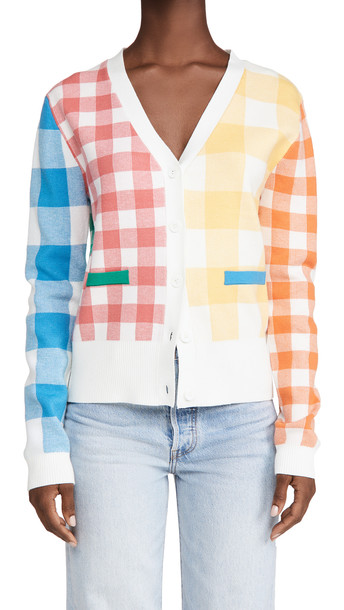 ENGLISH FACTORY Colorblock Check Cardigan in multi