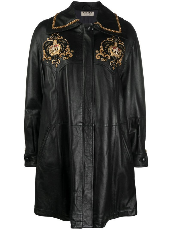 A.N.G.E.L.O. Vintage Cult 1980s crown embroidery leather coat in black