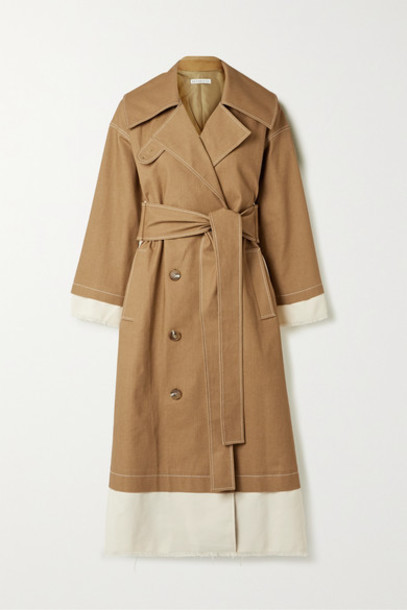 REJINA PYO - Gladys Paneled Cotton-blend Canvas And Drill Trench Coat - Camel