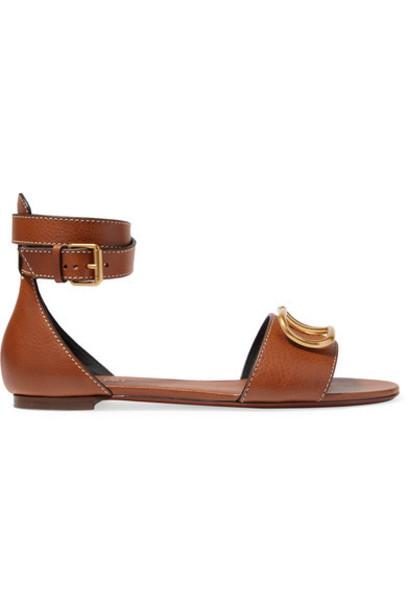 Valentino - Valentino Garavani Go Logo Leather Sandals - Tan