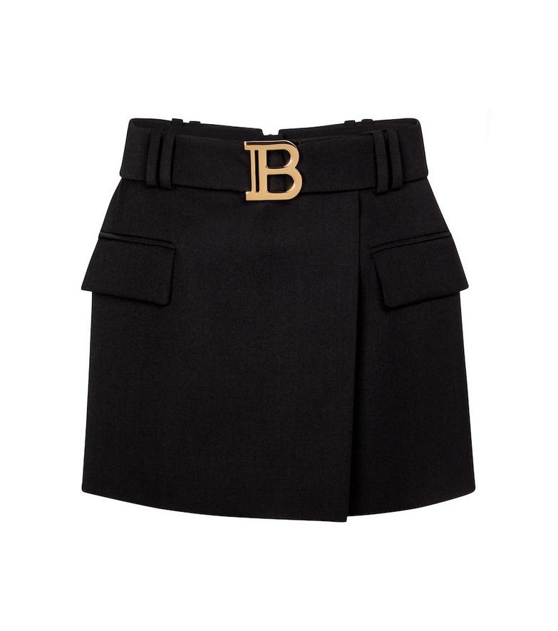 Balmain Belted low-rise wool miniskirt in black