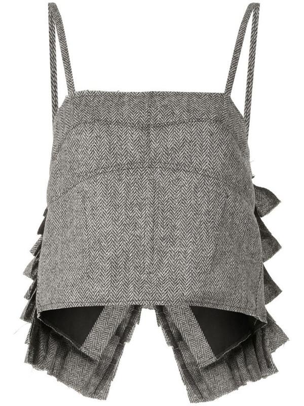Vera Wang ruffle-back vest top in grey