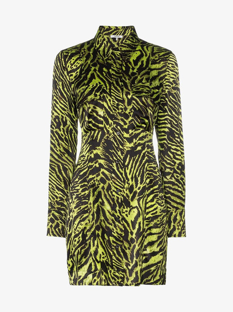 Ganni Tiger stripe silk shirt dress in black