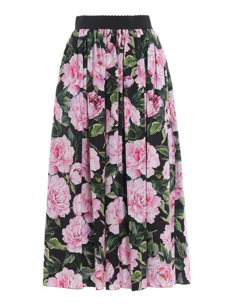 Dolce & Gabbana Dolce Gabbana Floral Maxi Skirt in nero
