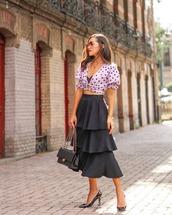 top,crop tops,white top,polka dots,midi skirt,ruffle,black skirt,chanel bag,black bag,pumps,ysl