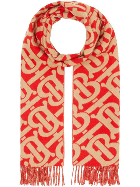 Burberry Monogram cashmere jacquard scarf in red