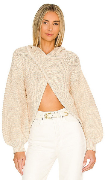 Lovers and Friends Andrea Crossover Hooded Sweater in Cream in blush