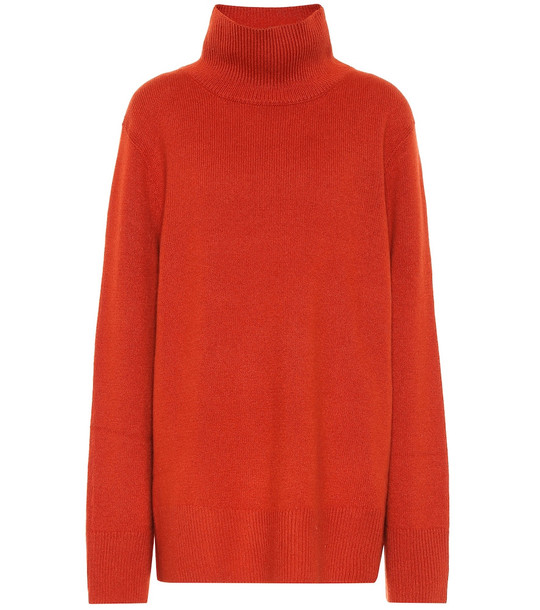The Row Milana wool and cashmere sweater in orange