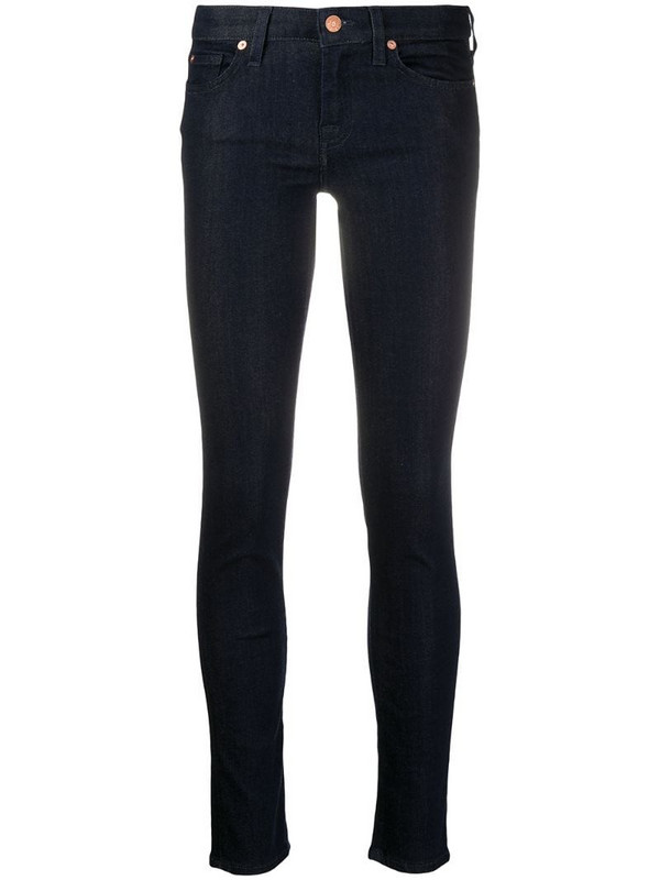 7 For All Mankind high-rise skinny jeans in blue