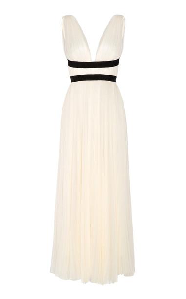Maria Lucia Hohan Maple Pleated Tulle Midi Dress in white