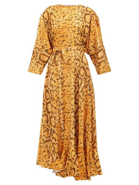 Preen By Thornton Bregazzi - Claudia Snake Print Midi Dress - Womens - Yellow Print