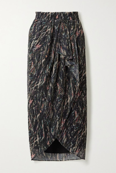 IRO - Aubagna Wrap-effect Printed Lurex Midi Skirt - Black