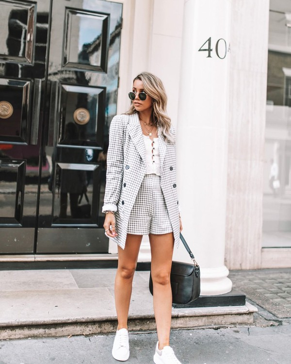 jacket plaid blazer plaid shorts white sneakers white top black bag