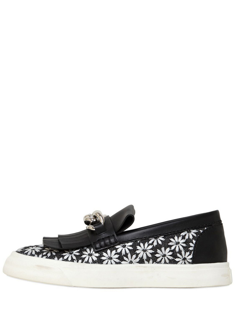 GIUSEPPE ZANOTTI DESIGN Chained Daisy Canvas Slip On Sneakers in black / white