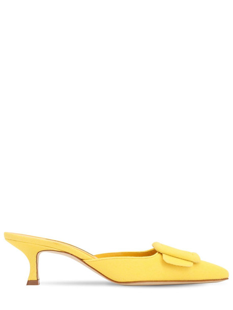 MANOLO BLAHNIK 50mm Maysale Cotton Canvas Mules in yellow