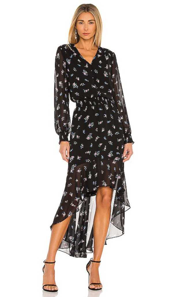 1. STATE Button Front High Low Dress in Black in rose