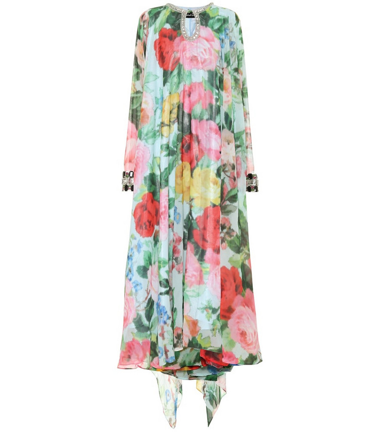 Richard Quinn Embellished floral chiffon gown