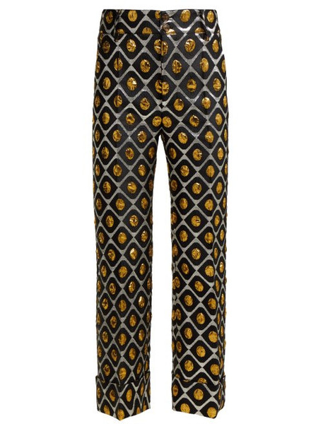 La Doublej - Hendrix Pomodorini Oro Brocade Cropped Trousers - Womens - Black Gold