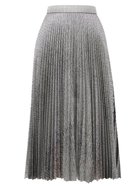 Christopher Kane - Dna Pleated Metallic Tulle Midi Skirt - Womens - Silver