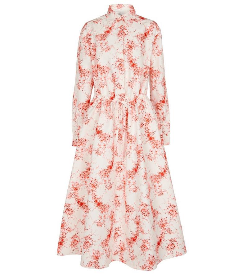 Valentino Printed cotton and silk midi dress in red