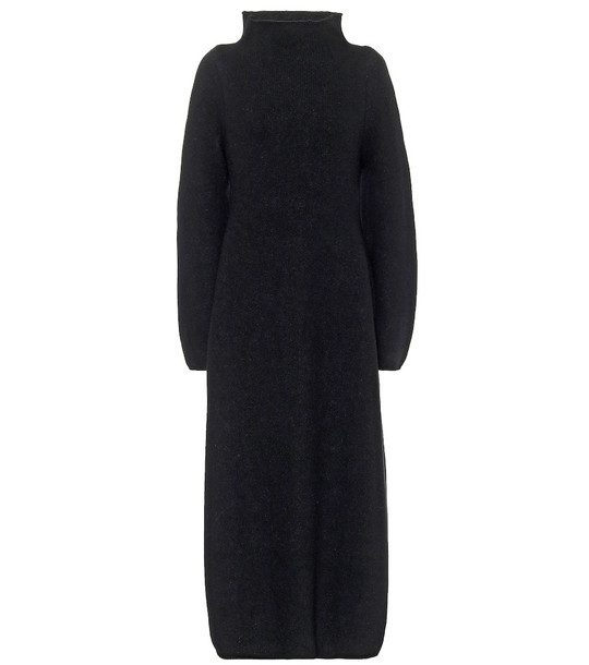 Jil Sander Wool-blend mockneck maxi dress in black
