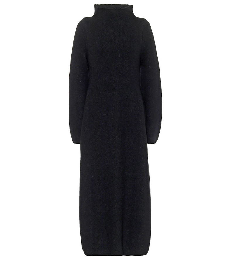 Jil Sander Wool-blend mockneck maxi dress in black