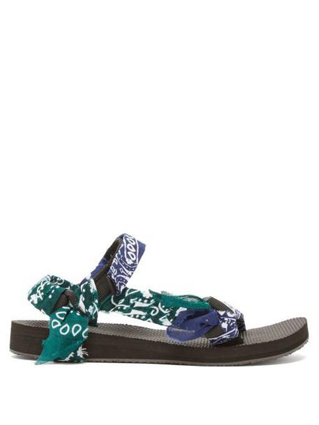 Arizona Love - Trekky Bandana Wrapped Sandals - Womens - Navy Multi
