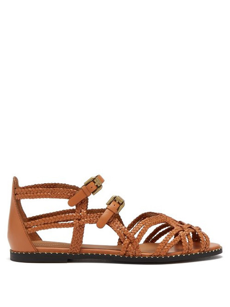 See By Chloé See By Chloé - Katie Double Buckle Braided Leather Sandals - Womens - Tan