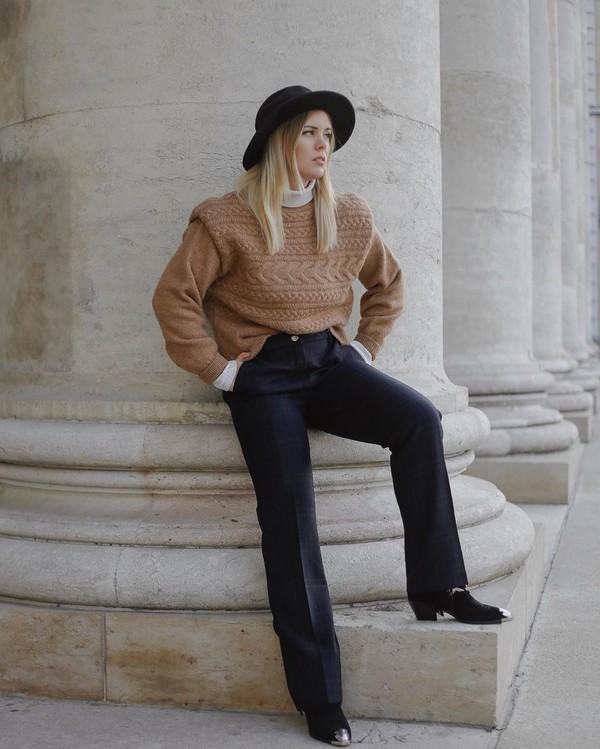 pants straight pants plaid cowboy boots sweater white turtleneck top hat