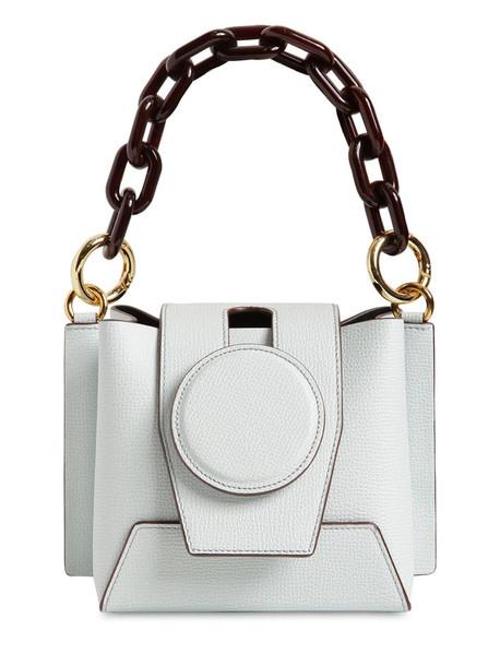 YUZEFI Daria Leather Top Handle Bag in blue