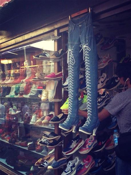 jeans denim boots
