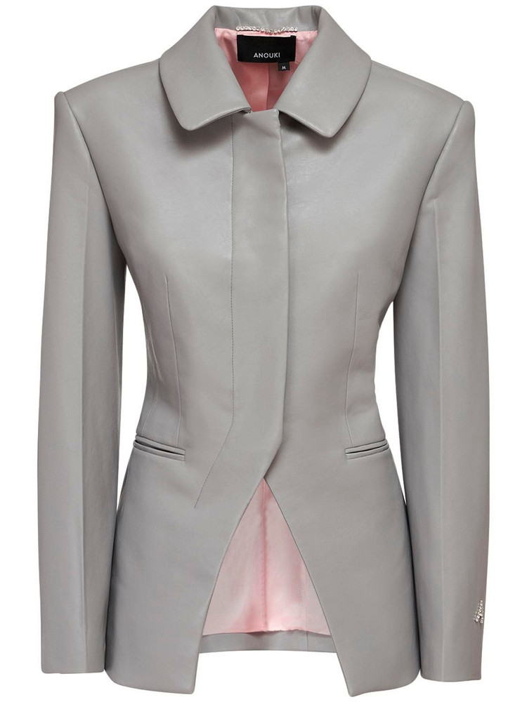 ANOUKI Faux Leather Single Breast Blazer in grey