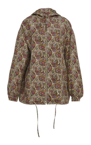 Prada Printed Hooded Silk Jacket in print