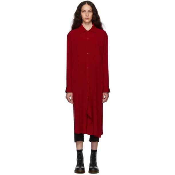 Ys Red Drape Shirt Dress