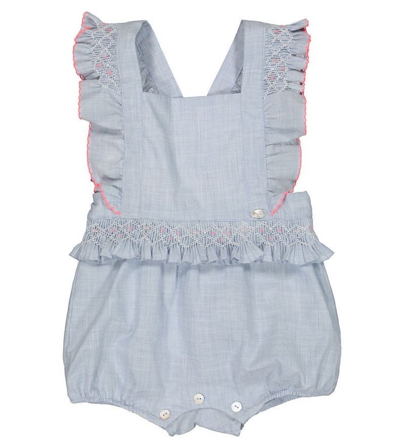 Tartine et Chocolat Baby embroidered cotton playsuit in blue