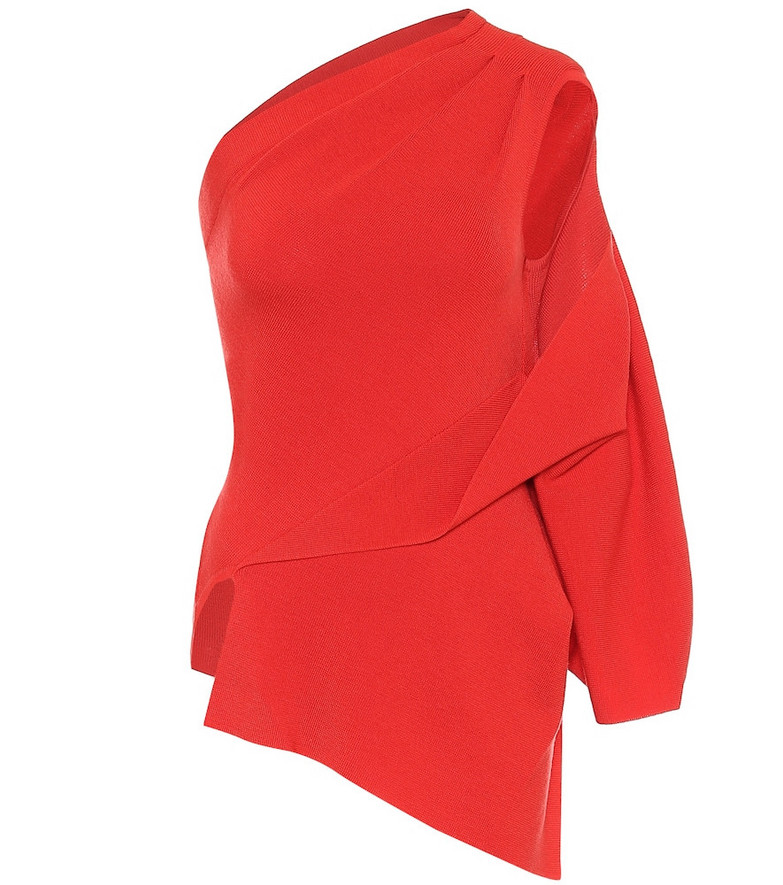 Monse One-shoulder wool sweater in red