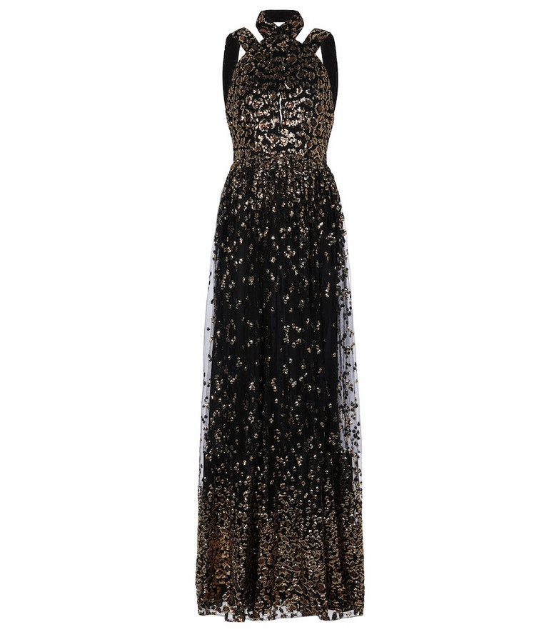ELIE SAAB Sequined halterneck tulle gown in black
