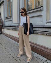 pants,high waisted pants,platform sandals,white top,black bag