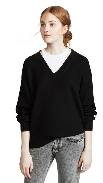 alexanderwang.t Bi-Layer V Neck Sweater in black / white