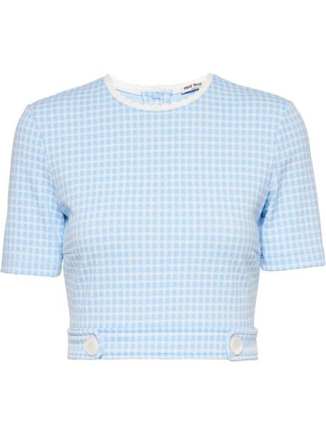 Miu Miu gingham check crop top in blue